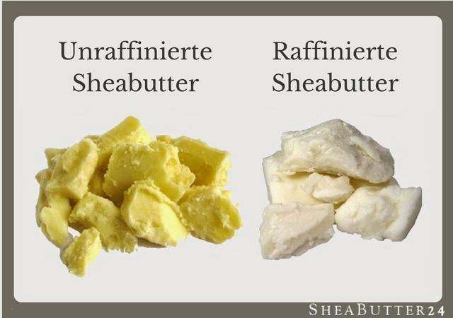 Unraffinierte Sheabutter und raffinierte Sheabutter - Vergleich